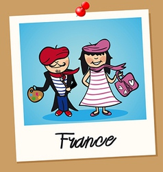 France travel polaroid people vector image