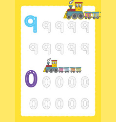 Free handwriting pages for writing numbers learnin vector