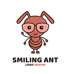 fun cute smiling smart ant in glasses vector image