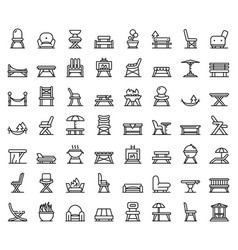 Garden furniture icons set outline style vector
