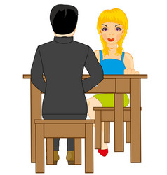girl and lad at the table vector image