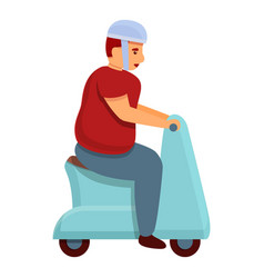 Gluttony man scooter icon cartoon style vector