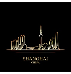 Gold silhouette of Shanghai on black background vector
