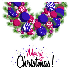 greeting card wreath merry christmas vector image