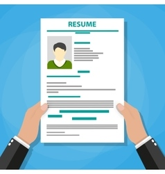 Hand holding resume vector image