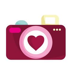 Happy valentines day photo camera heart love vector