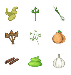 Harvested crop icons set cartoon style vector