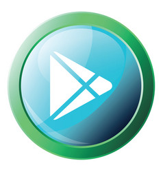 icon a blue googleplay button with round green vector image