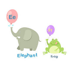isolated alphabet letter e-elephantf-frog vector image