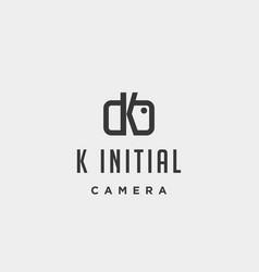 K initial photography logo template design vector