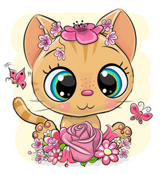 Kitten with flowers on a yellow background vector