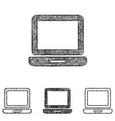 Laptop icon set - sketch line art vector