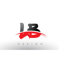 Lb l b brush logo letters with red and black vector