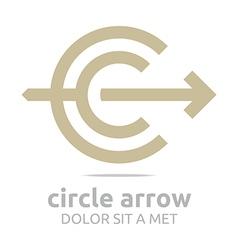 letter c arrow brown icon symbol vector image