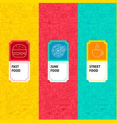 line fast food package labels vector image