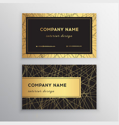 Luxury business card gold and black horizontal vector