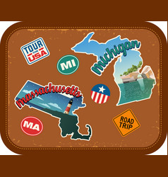 Massachusetts michigan travel stickers vector