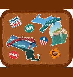 massachusetts michigan travel stickers vector image