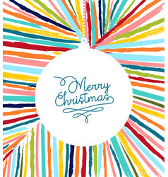 merry christmas card colorful hand drawn ball vector image
