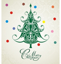 Merry Christmas Green Tree vector image