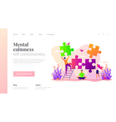 Mindfulness landing page template vector