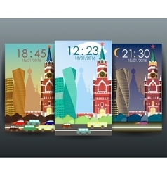 Mobile interface wallpaper design with cityscape vector image