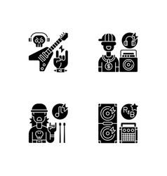 modern street music black glyph icons set vector image