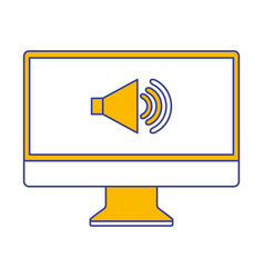 monitor computer sound volume communication vector image
