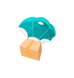 Package with parachute cartoon icon vector