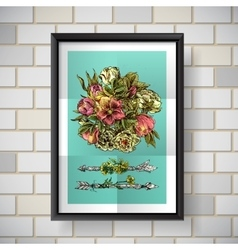 Poster with flowers vector