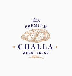 premium challa bread abstract sign symbol or logo vector image
