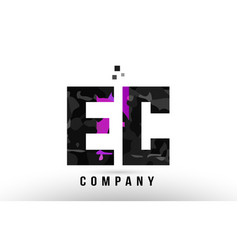 Purple black alphabet letter ec e c logo vector