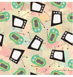 retro television and vintage radio on abstract vector image