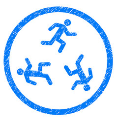 Running men rounded grainy icon vector