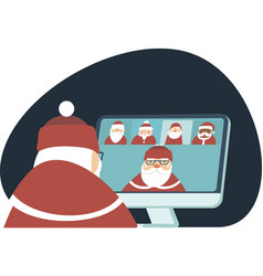 Santa has conference video call with colleagues vector