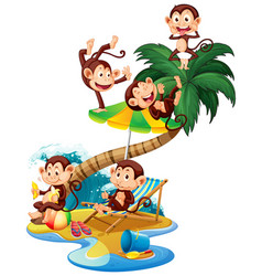 Scene with monkeys on island on white vector