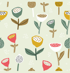 Seamless pattern with flowers inscandinavian style vector