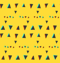 seamless pattern with glitch triangles on yellow vector image