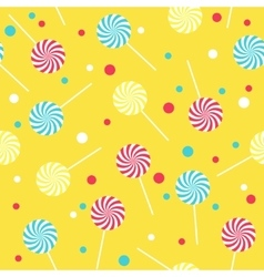 Seamless yellow pattern with lollipops vector