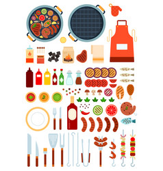 set grill and beef icons flat vector image