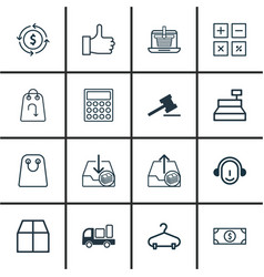 Set of 16 e-commerce icons includes peg employee vector