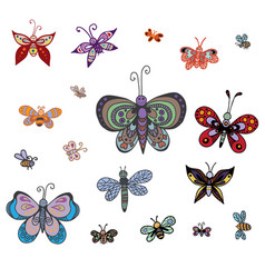 Set of butterflies of different styles vector