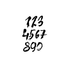 set of calligraphic ink numbers textured dry vector image