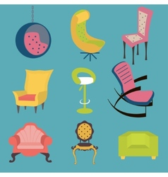 Set of colorful chairs interior detail vector