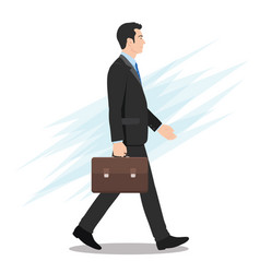 side view a businessman walking forward vector image