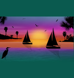 silhouette a sailingboats at sea on vector image