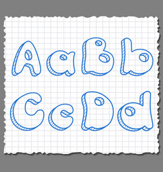 Sketch 3d alphabet letters - ABCD vector