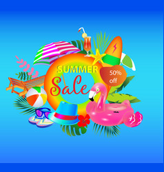 summer sale banner design with colorful bea vector image