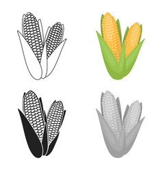 Sweet corn icon in cartoon style isolated on white vector