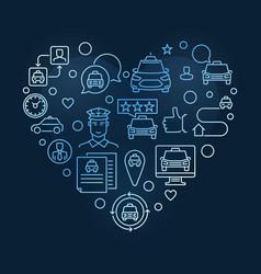 taxi job heart concept linear blue vector image